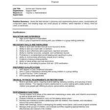 Sample Resume For Assistant Teacher In Preschools Archives