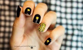 Indian Ocean Polish: Yellow and Black Aztec Design