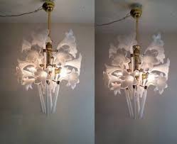 pair murano hand blow glass calla lily vintage brass antique light chandelier