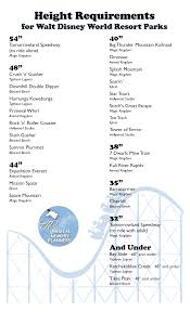 Universal Studios Height Chart Height Requirements For Walt Disney World Parks Magical