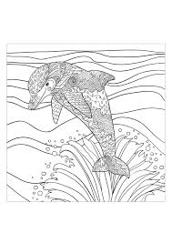 Sea Dolphin Water Worlds Adult Coloring Pages