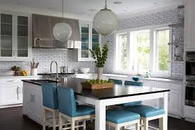 Amazing Long KItchen Island As Dining Table With Blue Leather Stools Good Ideas