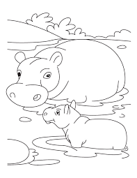 Small Picture Baby hippo with mother hippo coloring pages Download Free Baby