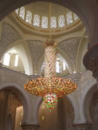 the world s largest crystal chandelier is in the main prayer hall of the mosque it is breath takingly beautiful