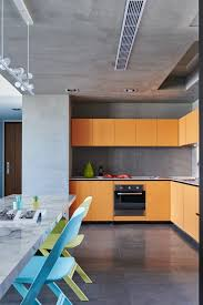 Home Designs: Orange And Concrete Kitchen - Asian