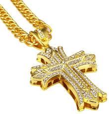 cross pendant necklace gold color big crucifix necklace men hip hop jewelry souq uae