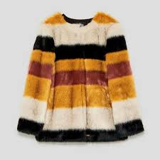 details about bnwt zara faux fur coat with multicolored stripes size s