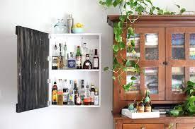 diy wall mounted liquor cabinet elbow