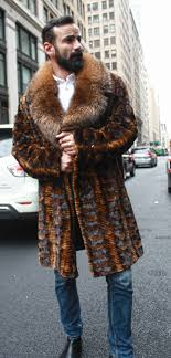 whiskey sheared mink fur jacket with hood and fox fur trim marc kaufman furs