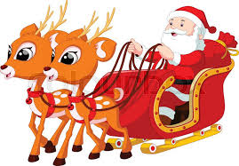 santa claus and reindeer. Perfect Santa Santa Claus Riding A Sleigh Pulled By Reindeer  Stock Vector Colourbox Inside And Reindeer U