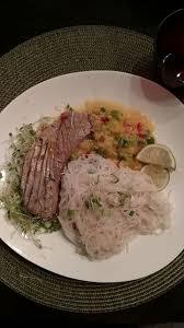 seared ahi tuna steak with mango lime salsa and sesame gl noodles