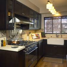 small space kitchen ideas:  small kitchen spaces black painted cabinet glass doors in space ideas for small kitchen