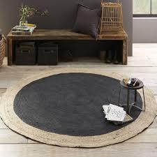 round jute rug black