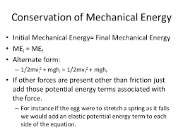 conservation of mechanical energy initial mechanical energy final mechanical energy me i me f