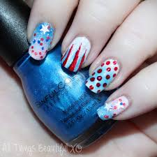 4th of July USA Nail Art with Stars, Glitter, & Ombre with Sinful ...