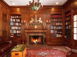 furniture home library design wooden bookcase horse decoration red soft carpet brown puffy sofa chandelier box