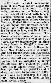 The Coffeyville Daily Journal Coffeyville, Kansas 25 November 1921 Jeff  Fields moonshine king - Newspapers.com