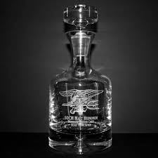 engraved taylor whiskey decanter with navy seal trident logo