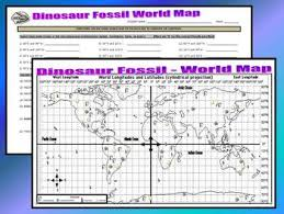 Dinosaur Fossil World Map Latitude Longitude Questions Key Display