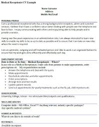 Medical Receptionist CV Example - icover.org.uk