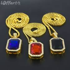 mens iced out gold rick ross red ruby pendant chain