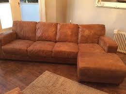 dfs caesar 4 seater chaise sofa tan leather