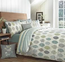 details about appletree leaf reversible duvet covers quilt set 100 cotton azuki blue green