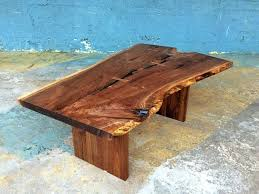 sold amazing live edge black walnut coffee table with bow ties curved oval veneer glass