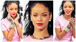 rihanna makeup tutorial pink dress red lips missjessicaharlow you