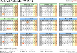 School calendars 2013/2014 as free printable Excel templates