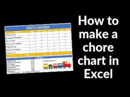 How To Make A Printable Chore Chart Using Microsoft Excel