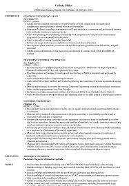 Control Technician Resume Samples Velvet Jobs