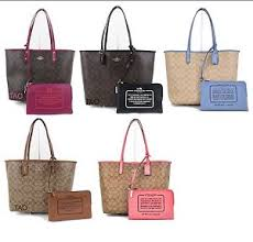 Image is loading Coach-Signature-Reversible-City-Tote-Shoulder-Bag-Handbag-