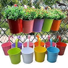 Hanging Flower Pots,Out Topper Balcony Garden Plant Planter Metal Iron Mini  Flower Seedlings Brigade Fence Bucket Pots Hanger Planter for Home Decor  (5pcs)
