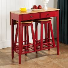 3 piece bar table sets in red with rectangular table made of wood and two backless bar stools made of wood