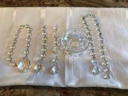 vintage 4 crystal glass lamp bobeche w prisms chandelier parts repair
