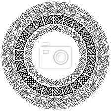 Nálepka Mandala Stylu Celtic Style Nekonečné Uzel Symboly V Bílé Na černém