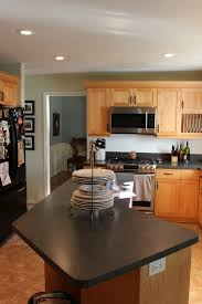 Kitchen Inspiration ~ Gray Paint Color With Honey Oak Cabinets