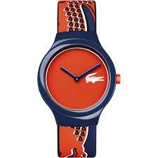 lacoste watches lacoste men s blue orange goa strap watch lacoste men 039 s blue amp