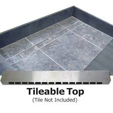 redi trench single curb shower pan with left linear drain tileable drain top