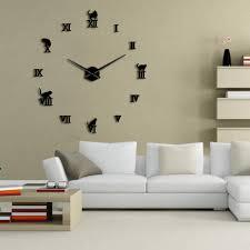 details about frameless diy large cat wall clock 3d giant kitty kitten wall clock wall sticker