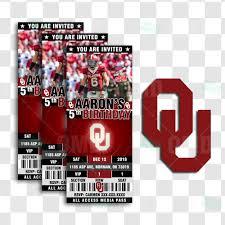 Oklahoma Sooners Sports Ticket Style Party Invites Sports