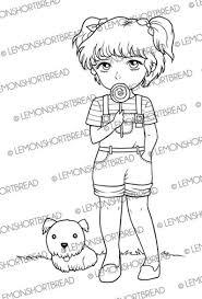Digitale Stempel Lollipop Meisje Met Hond Digi Downloaden Etsy