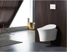 kohler k 5402 0 white veil 0 8 1 6 gpf elongated wall hung toilet with dual flush integrated bidet quiet close lid night light in wall carrier