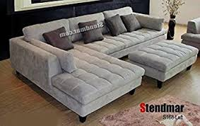 sectional sofa with chaise. Amazon.com: 3pc Contemporary Grey Microfiber Sectional Sofa Chaise Ottoman S168LG: Kitchen \u0026 Dining With F