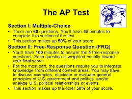collegeboard ap course description the ap u s government  the ap test section i multiple choice there are 60 questions