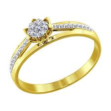 <b>Кольцо</b> из <b>желтого</b> золота с бриллиантами <b>SOKOLOV</b> – купить в ...