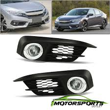 2016 Civic Fog Light Bulb Details About Fit 2016 2017 Honda Civic 2 4dr Chrome Housing Fog Lights Lamps Switch Bulbs