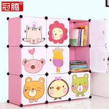 crown teng with door bookshelf cartoon cute separate table bookcase environmental protection storage shelves students small bookshelf bookcase foldable diy