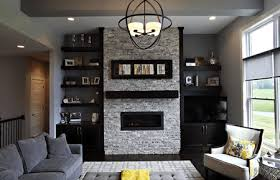 modern living room with black built ins